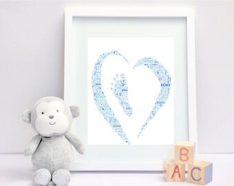 Baby footprint in a heart - Personalised Print Framed