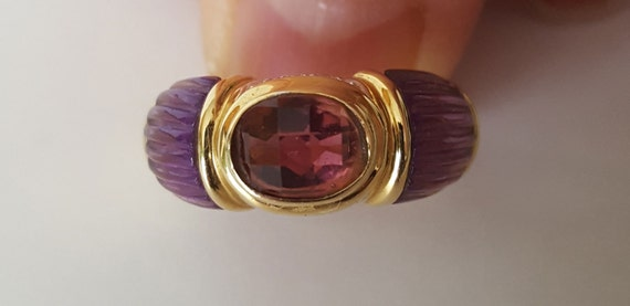 Handmade 14k Pink Tourmaline and Carved Amythest ring, vintage, with diamonds, bezel set, size 6.5