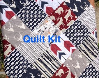 Woodland Quilt Kit, Woodland Nursery Bedding, Grey, Red and Navy Quilt Kit, Elk,Deer,Arrows Quilt Kit- QK-2