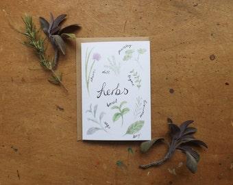 SALE -Herbs Greetings Card - Blank Inside