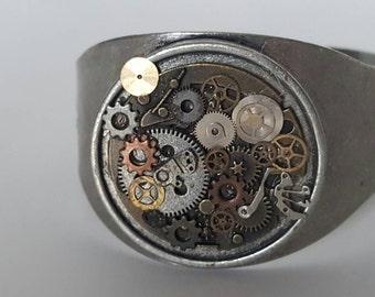OOAK Steampunk gear cuff bracelet