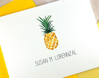New Home Housewarming Gift, Personalized Stationery Set, Gold Pineapple Stationary Set, Realtor Closing Gifts, Stationery Set of 10