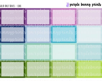 Solid Color Half Boxes // Planner Stickers!