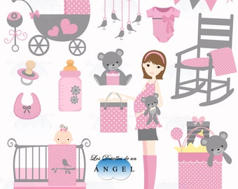 Clip art for baby girl shower / Clipart for baby shower girl