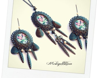 parure necklace and matching loops mind Japanese cherry blossoms