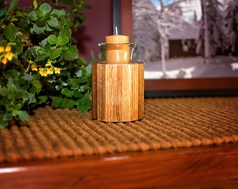 Wood Votive Holder, Home Accent Candle, Fifth Anniversary, Candle Room Decor, Wooden Candleholder, Oak Candle Holder, Maple Candle Holder