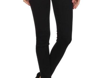 Enjean Women's Moto-Inspired Slim Fit Pants w/ Zippered Hip Pockets (Black)