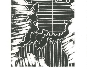 """Abstract relief print, original, small, black, ink, abstract, contemporary, aesthetic, hand crafted, home decor, decor, """"Organics III"""""""