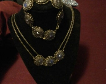 Hand made three pieces jewelry set bronze in color