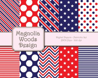 Patriotic Paper Pack, 4th of July Paper Pack, Patriotic Digital Papers, Red White Blue Digital Background, Small Commercial Use Paper Pack