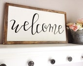 Hand Lettered Wood Sign | Welcome Sign | Farmhouse Decor | Fixer Upper Decor | Handcrafted Wood Sign | Custom Quote Sign | Home Decor