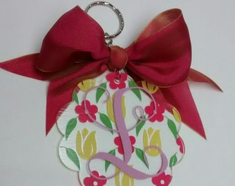 Scalloped Personized Keychain
