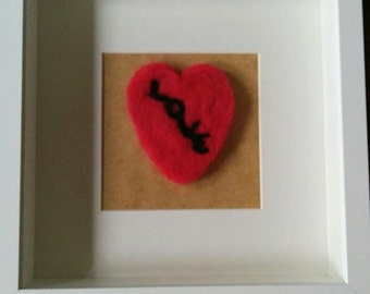 Needle felted love heart