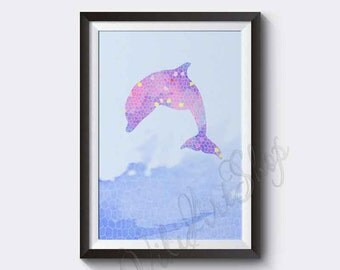 Dolphin Instant Digital Download, Watercolor Art Print, Dolphin watercolor art print, Dolphin Nursery decor , Dolphin drawing kids room