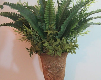 Artificial Fern Arrangement,  Distressed Metal Base, Greenery Arrangement, Handmade Decor, Rustic Accent