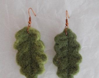 Needle Felt Oak Leaf Earrings