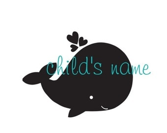 Children's Whale Decal w/ Name