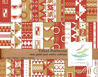 Red and Gold Tribal Patterns - Scrapbooking Digital paper Pack for personal and commercial use. Suitable for scrapbooking and backgrounds