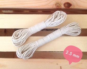 """2.5 mm (3/32"""") Natural Cotton Braided Cord Rope for Macrame, Nautical Knots, Bulky Yarn, Macrame Cotton Cord"""
