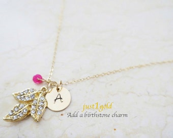 Initial Charm Necklace, Personalized Leaf Necklace with Ruby, 14k. Gold Fill Delicate Necklace Bridesmaids Gift Jewelry, just1gold