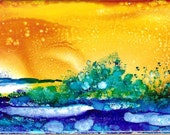 Sunrise Landscape- Hand painted Tile, Alcohol Ink Ceramic Tile 3 x 6 inches, Sunrise, Coaster or Wall Art, with Top Sealant and Felt backing