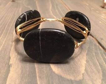 Onyx Black Stone Bangle