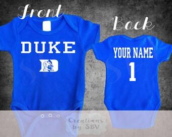Duke Blue Devils Football bodysuit, Duke Football FAN Baby bodysuit, Football bodysuit, Blue Devils bodysuit, baby football jersey