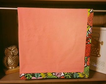 Bright Floral FLannel with Peach Flannel Blanket