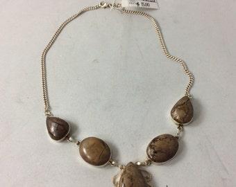 Vintage Green Stone JASPER Gemstone Necklace