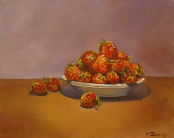 A cup of strawberries - Still Life - Original oil painting by Anne Zamo