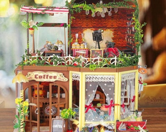 Coffee Bar Dollhouse DIY Kit Cute Room House Model With Light and Music Box - DK11