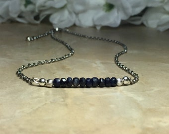 Genuine Sapphire Necklace, September Birthstone, Sapphire Choker, Stainless Steel Chain, Gemstone Choker, Choker Necklace, Gift For Her