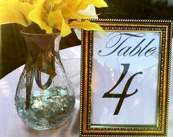 Plastic Gold Framed Table Numbers - Set of 5