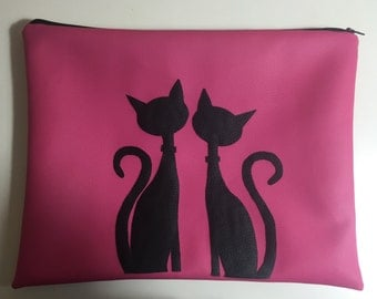 """A """" Kitty Cat in Love"""" Laptop bag sleeve case in Pink leather"""