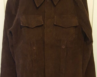 Run & Fly Brown Corduroy Jacket Large Retro 60's 70's