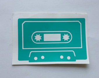 Cassette Tape Decal, Retro Decor, Music Sticker, Mixtape
