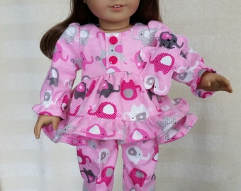 Pink Elephant Pajamas for 18 inch dolls