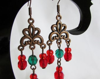 Earrings made of Czech beads of red and green