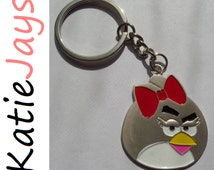 angry birds figure keyring red hair bow girl keychain katiejays keyring chain katie jays