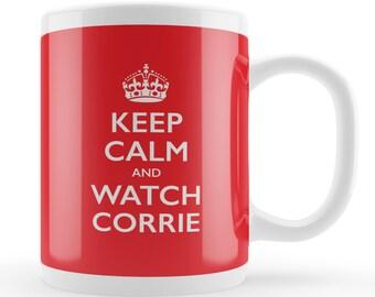 Corrie fan gift, Coronation Street fan mug, funny keep calm gift, coronation street lovers present, funny mug gift, tv addict, UK gifts