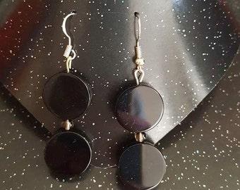 Black Sardonyx and Smokey Quartz Bracelet and Earring set