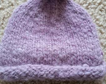 Hand-spun & Hand-Knitted Alpaca Baby cap