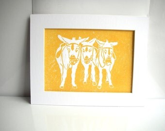 Seaside Donkeys in Yellow, hand printed lino print a6