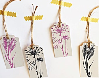 Wildflower Hand Stamped Gift Tags, Wedding Tags, set of 10
