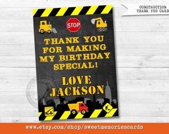 Construction Thank You Card, Dump Truck Thank You Card, Construction Thank you note