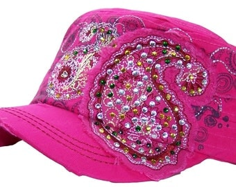 Girl's Pink Hat, Bling Hat, Bling Cadet Hat, Ladies Rhinestone Bling Cap, Embellished Hat, Embellished Cap, Girls Military Hat, Bling hat