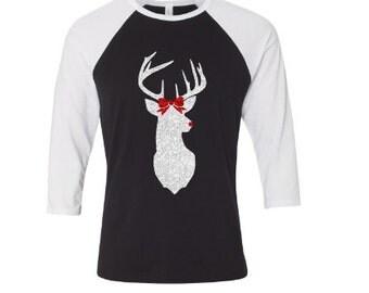 Bella and Canvas baseball tshirt, Christmas Shirt, Reindeer Bow Christmas Shirt, Glitter, Red Nose Reindeer Shirt, Deer, Silhouette Deer