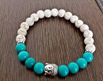 Genuine Reiki Charged Turquoise and Howlite Bracelet with Buddha Charm   8mm Beads