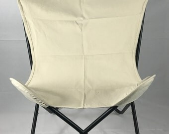 Modern Canvas Butterfly Chair - Ivory Canvas Cover - Free Shipping