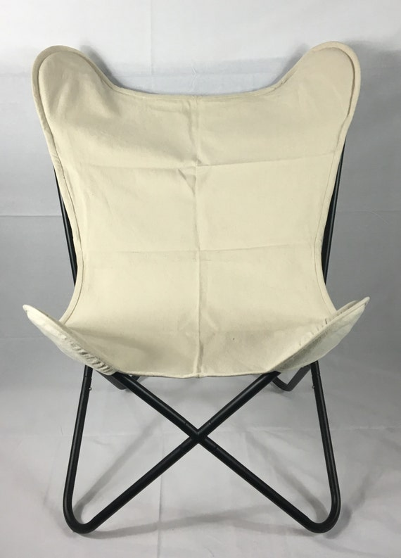 Modern Canvas Butterfly Chair with Ivory Canvas Cover